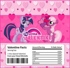 MY LITTLE PONY Valentine's Day Chocolate Bar or Candy Bar Wrapper. $3.00, via Etsy.