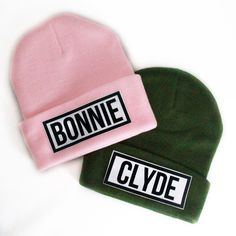 """Slang Beanies® """"Bonnie & Clyde"""" Dye Sublimated Ribbed Comfort Knit Hats Colors NEED! Bonnie Clyde, Mode Outfits, Fashion Outfits, Dope Hats, Cute Beanies, Pink Hat, Head Accessories, Knit Beanie Hat, Couple Outfits"""