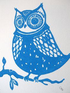 Linocut Print Little Light Blue Owl Art Print by NewsFromRome
