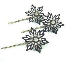 Black filigree and clear crystal flower silver bobby by ardorfire, $26.00