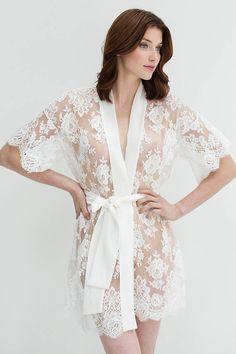 Rosa French lace kimono robe in off-white or black Lingerie Retro, Jolie Lingerie, Luxury Lingerie, Designer Lingerie, Luxury Designer, Sleepwear Women, Pajamas Women, Lingerie Sleepwear, Nightwear