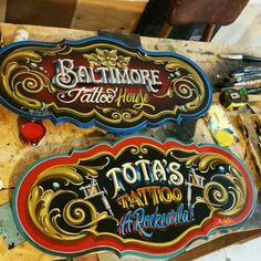 Tattoo Studio Interior, Obey Art, Sign Board Design, Distressed Signs, Tattoo Signs, Airbrush Art, Vintage Typography, Pinstriping, Hand Painted Signs