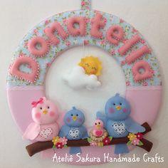 Guirlanda Porta de Maternidade tema Família de Passarinhos para a Donatella