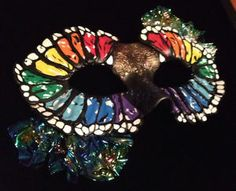 Mardi Gras mask mixed media ORIGINAL art by unknown artist signed