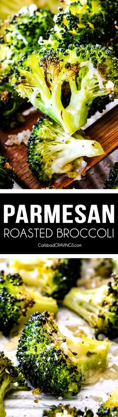 QUICK AND EASY this Parmesan Roasted Broccoli is bursting with flavor, caramelized crispy tops and the quickest side dish to every meal all made in ONE PAN! AKA Minimal effort, HUGE flavor! via @carlsbadcraving