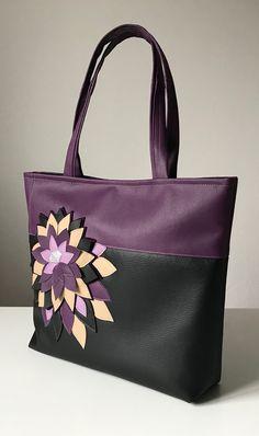 Shoulderbag, black, violet, lotus flowers bag. Unique!