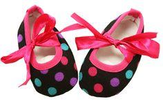 Hot Pink and Black Polka Dot Print Crib Shoes Crib Shoes, Baby Shoes, Polka Dot Print, Polka Dots, Wholesale Shoes, Stylish Dresses, Hot Pink, Princess, Clothes