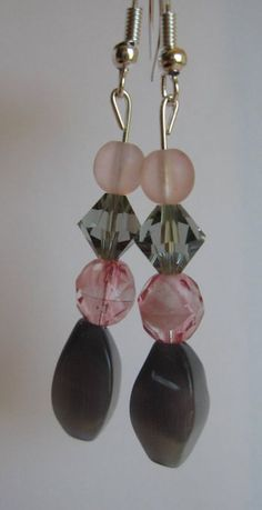 Gray and Soft Pink Earrings Swarovski and Glass by SmithNJewels, $9.99