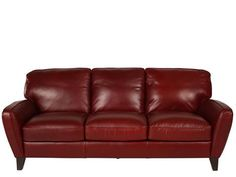 NAT-B568/064-2550 - Natuzzi Editions Red Leather Sofa | Mathis Brothers Furniture