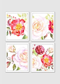 Watercolor The Embrace Prints, Romantic Art, Roses & Raspberries Art Prints, Hand Painted Flowers, Floral Watercolor Painting, Floral Decor by MintArtStudio on Etsy
