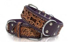 The Paws Mahal - San Antonio Purple Hand Carved Inlay Hair-On Leather Dog Collar, $79.99 (http://www.thepawsmahal.com/san-antonio-purple-hand-carved-inlay-hair-on-leather-dog-collar/)