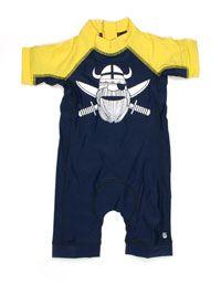 Navy geel swimsuit met witte piraat - Danefae