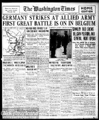 Headlines from the very start of WWI (1914)
