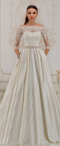 NEW! Glamorous Tulle & Satin Off-the-shoulder Neckline A-Line Wedding Dress With Lace Appliques & Belt