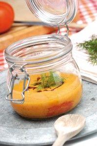 Soupe de melon tomate et basilic