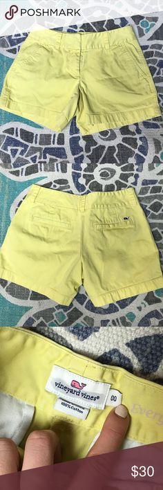"Yellow Vineyard Vines Chino Shorts 3"" Seam yellow chino shorts. Runs a little small in my opinion. PLEASE OFFER(: Vineyard Vines Shorts"