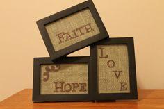Burlap Picture Frame FAITH HOPE LOVE by SarahKCreations on Etsy, $10.00