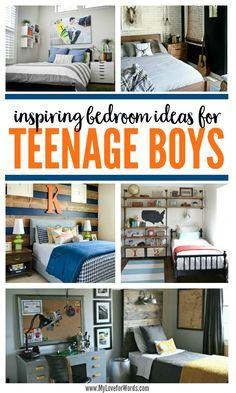 Inspiring Bedroom Ideas for Teenage Boys Decorating a teenage boy's room takes a creative balance, and these rooms do a perfect job of creating a young man cave any teenager would love. Such inspiring bedroom ideas for teenage boys! Girls Bedroom, Young Mans Bedroom, Young Boys Bedroom Ideas, Teen Boy Bedrooms, Boy Sports Bedroom, Teen Boy Bedding, Boys Bedroom Decor, Master Bedroom, Boy Room Paint