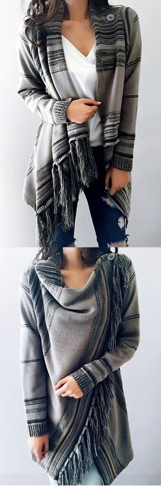 $47.99! Chicnico Single Button Tassel Asymmetrical Hem Shawl ready for Fall fashion! Find fashionable outfits for the new