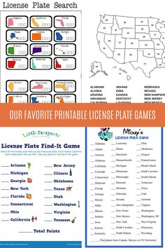 Travel Fun Printable License Plate Games - Peachy Party Family Reunion Games, Family Games, Family Reunions, Summer Party Games, Summer Camp Games, Youth Group Activities, Youth Groups, Homemade Carnival Games, Printable Board Games