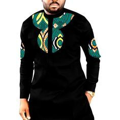 Item Type: Tops Tops Type: Tees Estimated Delivery Sleeve Length(cm): Full Pattern Type: Patchwork Fabric Type: Batik Sleeve Style: Regular Style: Casual Material: Cotton Hooded: No Collar: Henry Collar Time of sale: African Shirts For Men, African Dresses Men, African Clothing For Men, African Attire, African Wear, Nigerian Men Fashion, African Print Fashion, Mens Fashion, Fashion Outfits
