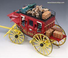 Stagecoach -Wells Fargo Historic Scale Wood Model Kit from Amati Models Toy Wagon, Horse Wagon, Wells Fargo Stagecoach, Wooden Wagon, Old Wagons, Chuck Wagon, Gypsy Wagon, Le Far West, Wheelbarrow