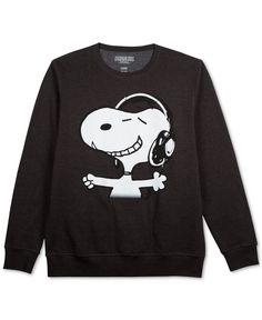 Jem Peanuts Snoopy Headphones Long Sleeve Fleece - T-Shirts - Men - Macy's