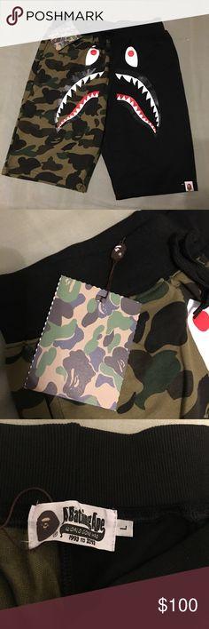 f07e1c0c95444 Bape Camo Shark Jaw Shorts Brand new A Bathing Ape Camo Jaw Fleece Shorts  Ready to