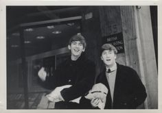 Rare photo of George Harrison and John Lennon outside the BBC in London, 1963