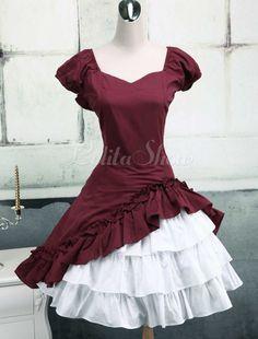 Schönes Lolita Kleid mit Herz-Ausschnitt und Rüschen - Lolitashow.com