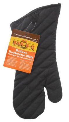 Mr Bar B Q 06018 Deluxe Barbeque Cooking Mitt by Mr. Bar-B-Q. $5.45. Easy to handle tools. Fire retartant. Twill and cotton. Ease of cooking with burning your hands. One size fits all. Barbecue cooking mitt
