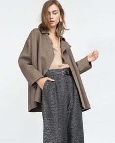 HAND MADE COAT from Zara in Taupe, Grey, and Sand