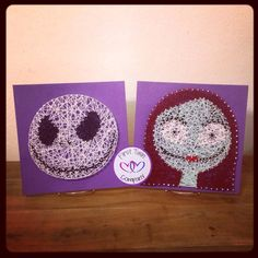 Nightmare Before Christmas, Sally and Jack Skellington string art home decor