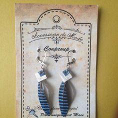 Boucles d'oreilles plumes de geai bleu