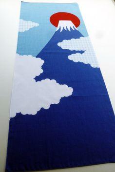 Japanese Tenugui mount fuji fabric, cute fabric tenugui, kawaii fabric, wall decoration, japanese curtain noren,