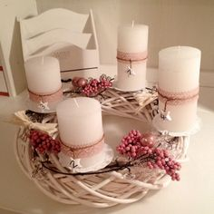 Schöne Ideen zum Advent unserer Leser/innen White Christmas, Christmas Crafts, Merry Christmas, Christmas Decorations, Xmas, Table Decorations, Christmas Advent Wreath, Diy Weihnachten, Pillar Candles