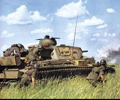Panzer III tank and german infantry of the Panzer-Division Panzer Division) during Operation Barbarossa, June-July, Panzer Iii, German Soldiers Ww2, German Army, World Of Tanks, Operation Barbarossa, War Thunder, Military Armor, Ww2 Photos, Ww2 Tanks