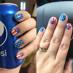 "My sister and I went with ""Soldier On"" Jamberry wraps with Captain America on them. Seemed perfect for July 4th."