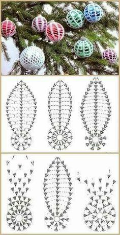 Tiny pearls add a lustrous glow to these wintry snowballs for your Christmas tree. Our designs are crocheted using bedspread weight cotton thread (size and a size 4 mm) steel crochet hook. Number of Designs: 3 Ornaments Approximate Design Size: 2 Crochet Christmas Decorations, Crochet Decoration, Christmas Crochet Patterns, Crochet Ornaments, Holiday Crochet, Crochet Snowflakes, Crochet Diy, Crochet Ball, Thread Crochet