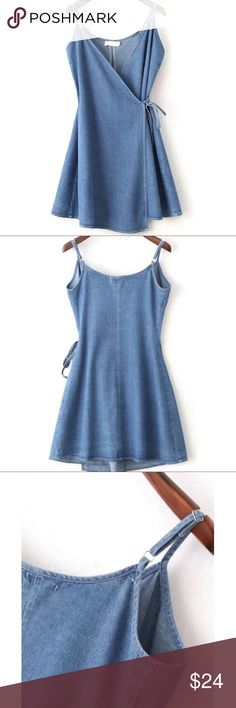 Summertime spaghetti strap light denim wrap dress Best for those under 5'6. Will fit a size 8-12 depending on the tightness of the wrapping. Never worn no signs of wear. NWOT because it did not come with tags. Brand for exposure purposes. Missguided Dresses Mini