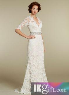 Sheath V-Neck Lace Wedding Dress - Front