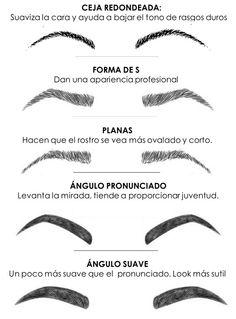 7mo. Tipos de cejas. Varia según el tipo de rostro y forma natural de la ceja... En mi caso, utilizo el Ángulo Suave.