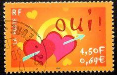 Items similar to LOVE, Yes! France -Handmade Framed Postage Stamp Art 18688 on Etsy Postage Stamp Art, Envelope Art, Love Stamps, Vintage Stamps, Stamp Collecting, Valentines, Lettering, Letter Boxes, Hearts