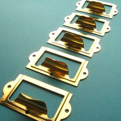 Bright Brass Finish Label Holder / Card Holders  by LillianOlive, $6.19 set of 5!!!!!