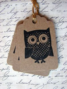 hand stamped owl gift tags so cute!