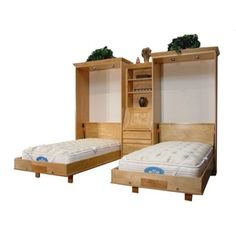 Twin Size Brittany Wall Bed Alder wood Natural finish