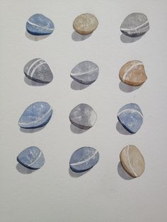 Twelve Pebbles from Westward Ho! New original watercolour painting by Rachel Shute. £85.00,framed. Contact Rachel at enquiries@artsiecoast.com