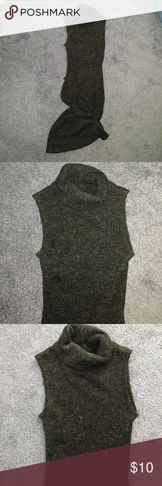 Long gray sleeveless sweater dress Black with silvery fuzzy threads. Turtle neck. Belt loops, but no belt included. Size small, prob in juniors. Could fit XS. Acrylic and polyester. Comes to mind calf. Stretchy and form fitting, but thick, fluffy enough to look classy. dmbm Dresses Maxi