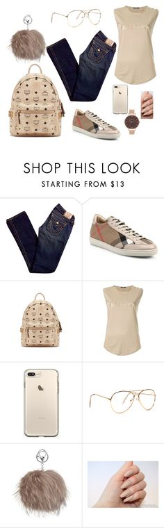 """Tan girl"" by lakisha-ii ❤ liked on Polyvore featuring True Religion, Burberry, MCM, Balmain and Olivia Burton"