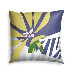 """Sale ends soon. Shop Floral Skeleton Leaf 20"""" Outdoor Pillow. A full-bloom flower and a white skeleton leaf compose this pillow's contemporary botanical print. Bold and graphic, the design layers petal and leaf to add green to the modern ochre, white, navy, pink and grey color scheme. Outdoor Pillow, Outdoor Fabric, Navy Pink, Botanical Prints, Custom Furniture, Crate And Barrel, Contemporary, Modern, Skeleton"""